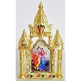 DollsofIndia Radha Krishna On Stone Studded And Golden Carved Metal Frame - Metal Frame