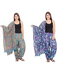 Rama Set Of 2 Floral Print Purple & Sky Blue Colour Cotton Full Patiala With Dupatta Set