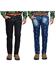 American Noti Black & Blue Denim Faded Stretchable Skinny Fit Jeans Combo-Pack Of 2