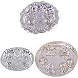 GS MUSEUM Silver Plated Rani Kumkum Plate, Silver Plated Oval Kumkum Plate And Silver Plated Small Ganesh Laxmi... - B01GA8JZCY