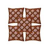 Rajrang Maroon Cotton Patch Work Cushion Cover Set Of 5 Pcs #Ccs04776