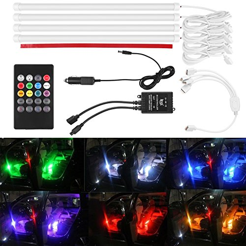 Lemonbest® 4pcs 12 inch Multi-Color 7 Color LED Car Interior Underdash Lighting Kit Sound Activated IR Remote Control Rhythm Lamp with Car Charger