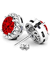 Swarovski Crystals Earrings Collection: Garnet Color Alloy Stud Earrings For Women By GLIMMERING