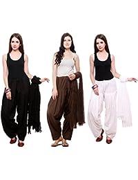 Fashion Store Combo Of Womens Solid Cotton Black ,Brown & White Best Ethnic Comfort Punjabi Patiala Salwar Bottom...