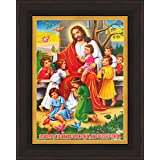 Avercart Jesus Christ With Kids / Jesus And Children / Christian Poster 5x7 Inch With Photo Frame (13x18 Cm Framed)