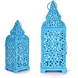 Christmas Metal Cage Set Of 2 Blue Candle Stand