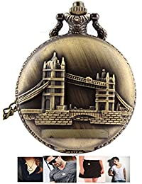 LMP3Creation Classic Vintage Retro Antique Bronze Finish Tower Of London Bridge Pocket Watch - Chain Pendant Unisex...