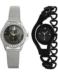 Delivery After Diwali- Bollywood Designer Silver & Black Watch For Women & Girls Pack Of 2 (Design-11)