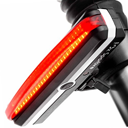 Red LED Rear Bike Light USB Rechargeable Bicycle Tail Light Fox Sportive, Super Bright 100 lm, 6 Light Modes, Waterproof, 180-degree For Cycling Safety Flashlight, Easy Install on Bicycles, Helmets