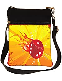 Snoogg Abstract Grunge Frame Of Vector Dice Cross Body Tote Bag / Shoulder Sling Carry Bag