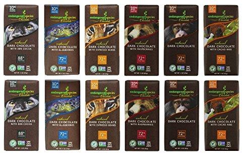 Endangered Species Chocolate Variety Pack (Pack of 12) ........(Dark with Blueberry,Tiger Dark Espresso Beans, Grizzly Dark Raspberry, Chimpanzee Dark Chocolate, Panther Extreme Dark Chocolate, Bat Dark intense)