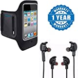 Apple IPhone 7 Plus Compatible Certified Sports Running Jogging Gym Armband Case Cover Holder With Sports H850 Bluetooth 4.1 Wireless Headphones (1 Year Warranty)