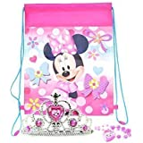 Disney Minnie Mouse Tiara, Pearl Necklace, And Travel Sling Bag - For Dress Up And Pretend Play On-The-Go