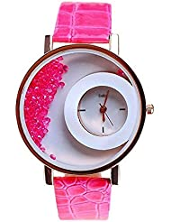 Pink Stylish Free Diamond Dial Fancy Leather Watch For Girls And Women