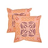 Beautiful Set Of 2 Cushion Cover Floral Peach 17 X 17 Cotton Pillow Cases