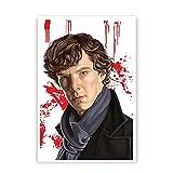PosterGuy Sherlock Holmes Benedict Cumberbatch Fan Art Caricature Poster (A4)