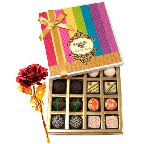 White And Dark Chocolate Box With 24k Red Gold Rose - Chocholik Belgium Chocolates