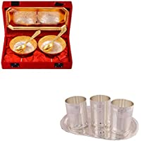 Silver & Gold Plated 2 Mini Flower Bowl With Spoon And Tray And Silver Plated 3 Premium Glass Set With Oval Tray