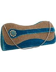 Sukkhi Designer Blue And Gold Clutch Handbag BW1029CD1200