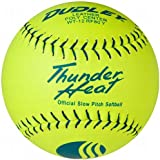 Dudley USSSA Thunder Heat Slow Pitch Classic M Stamp Softball - Leather Cover - 12 Pack, 12-Inch/Blue Stitch