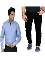 Combo Of Regular Fit Black Jeans With Blue Shirt