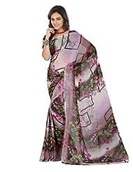 Lookslady Casual Wear Beige Printed Georgette Saree