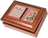 Cottage Garden Mother Mom Woodgrain Religious Music Box / Jewelry Box Plays Amazing Grace