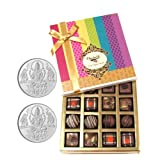 Chocholik Belgium Chocolates - Decadent Truffle And Chocolate Collection Gift Box With 5gm X 2 Pure Silver Coins...