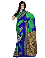 Riti Riwaz Green & Blue Bhagalpuri Silk Casual Saree With Unstitched Blouse KNK6404A