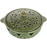 Kokoon Ceramic Hand Carved Potpourri Bowl (19 Cm X 16 Cm X 9 Cm, Green)