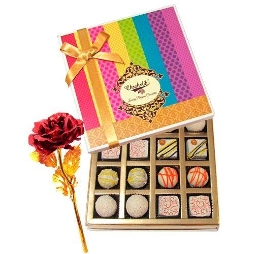 Valentine Chocholik's Belgium Chocolates - Exquisite White Truffles Box With 24k Red Gold Rose