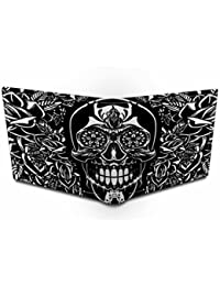 Men Wallet/Unisex Wallet,Ownclique Skull Art Brown Genuine Leather Wallet With Multi Card Pockets And 2 Partitions