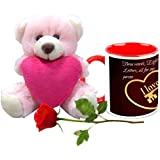 Valentine Gifts HomeSoGood Everything For Love White Ceramic Coffee Mug With Teddy & Red Rose - 325 Ml
