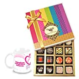 Valentine Chocholik Belgium Chocolates - Simple Elegance Of Dark And White Truffles And Chocolates With Love Mug