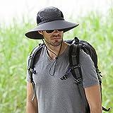 Outdoor Mountaineering Men's Wide brim hat ,Sunscreen Fishermans Bucket Hat permeability good cotton cap (Dark gary)