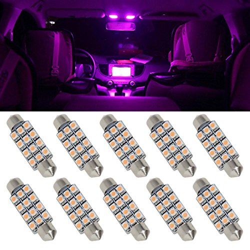Vplus 10pcs Pink Purple 12-SMD 42mm 1.7inch Festoon LED Bulbs Car Interior Dome Map Courtesy Lights 578 211-2 214-2