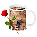 HomeSoGood Unique Design With Wooden Touch Print White Ceramic Coffee Mug With Red Rose - 325 Ml