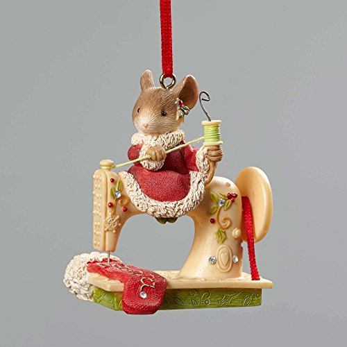 Enesco Heart of Christmas Mice Sewing Machine Ornament 2.56 In