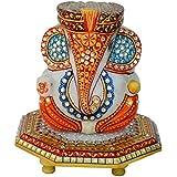 ECraftIndia Pagadi Lord Ganesha On Marble Chowki