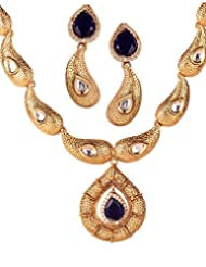 Varaagk 3pcs Set - Blushing Golding Neck Piece With AD, Kundan And Blue Stones With Matching Ear Piece
