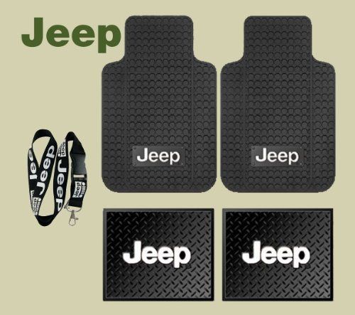 Jeep Logo Car Truck SUV Front & Rear Seat Rubber Floor Mats 4PC SET & Jeep Lanyard Kechain Holder