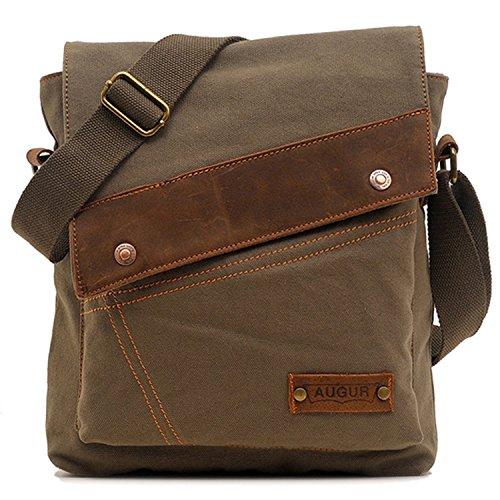 Aibag Messenger Bag, Vintage Small Canvas Shoulder Crossbody Purse (Army Green)
