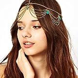 Kloud City Boho Turquoise Head Chain Jewelry Tassel Chain Headband Hairpieces Headdress For Girls