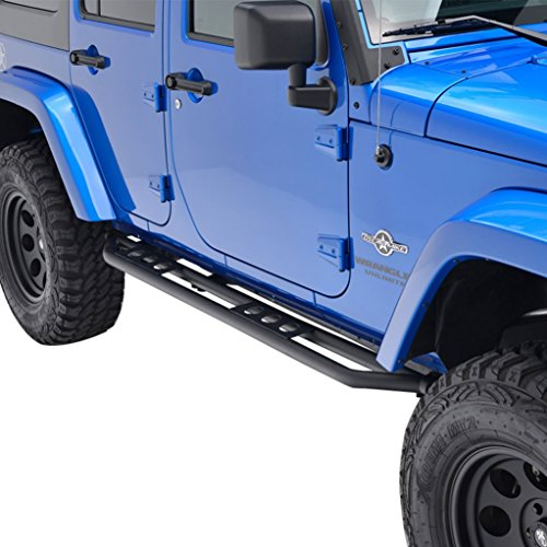 E-Autogrilles 07-16 Jeep Wrangler JK Black Textured Rocker Sliders Tube Running Boards (4 Door) (51-0345)