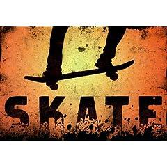 Skateboarding Orange Sports Poster Print