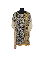 ADS Womens Digital Print Beige Black Kurti/Tunic - B00NPQDXUU