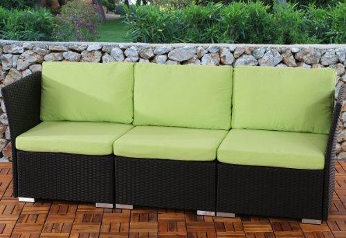 3er Sofa 3-Sitzer Siena Poly-Rattan, Gastronomie-Qualität ~ anthrazit mit Kissen in hellgrün