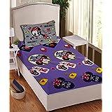 Athom Trendz Disney Minnie Mouse 104 TC Cotton Single Bedsheet With 1 Pillow Cover - Modern, Multicolour