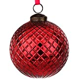 EarthenMetal Handcrafted Red Coloured Christmas Decoratives / Glass Hanging Ball-6 Inch