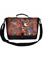 The House Of Tara Faux Leather Women's Laptop Bag With Printed Flap (Black, HTMB 036)